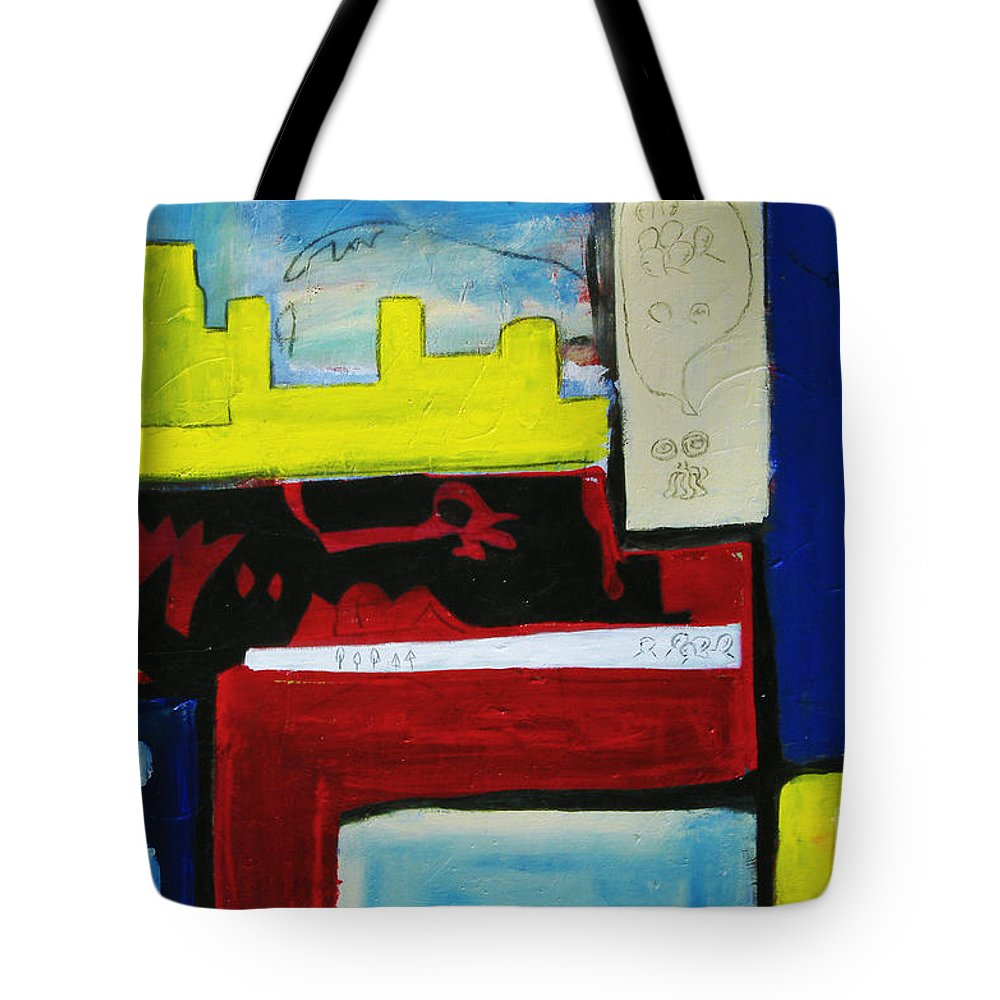 Painting Tote Bag featuring the painting City Life by Jeff Barrett
