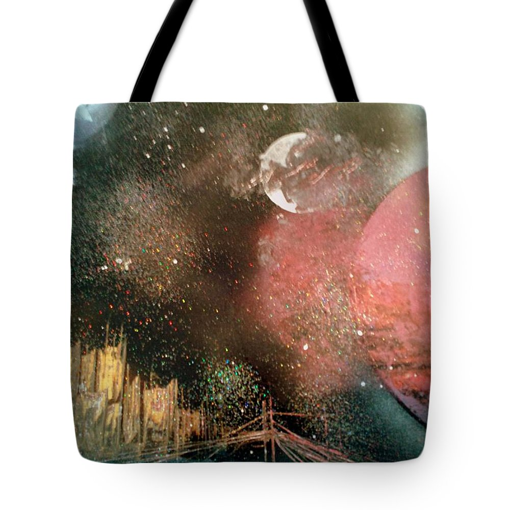 Space Tote Bag featuring the painting City Night Lights by Gerry Smith