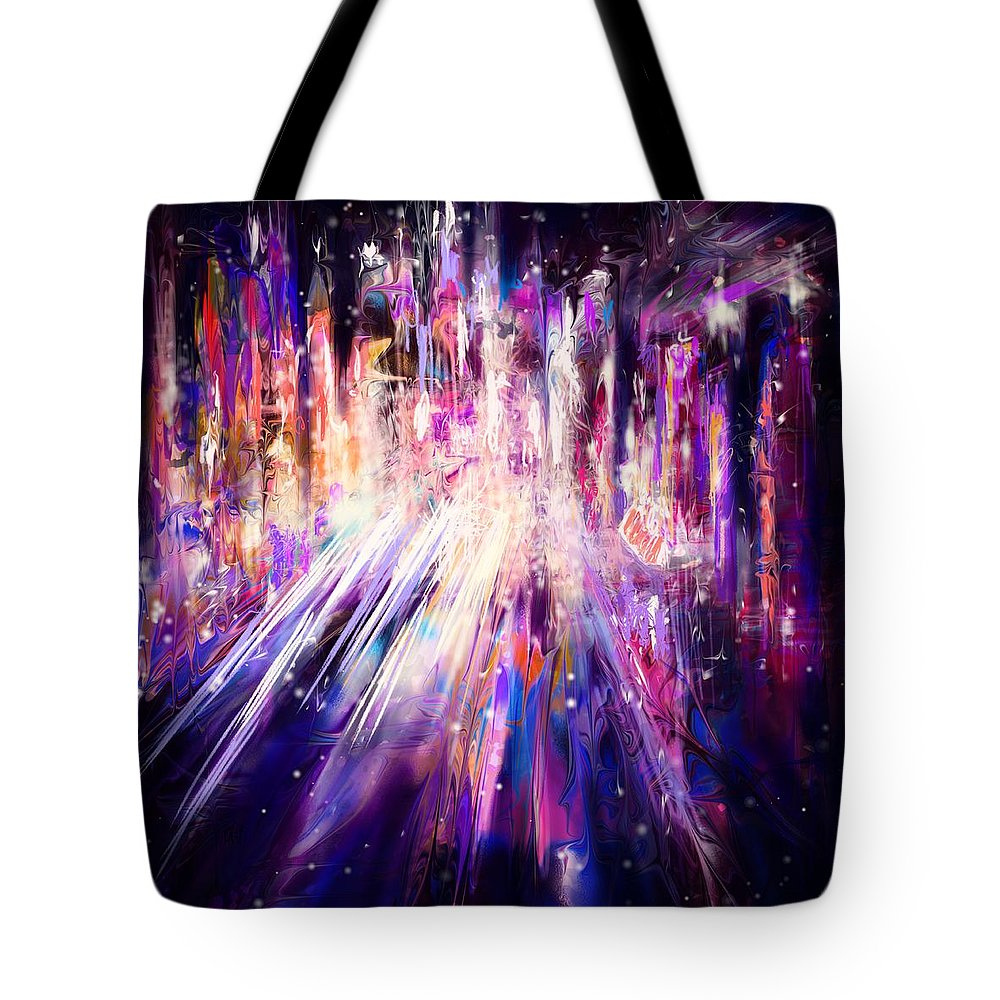Abstract Tote Bag featuring the digital art City Nights City Lights by William Russell Nowicki