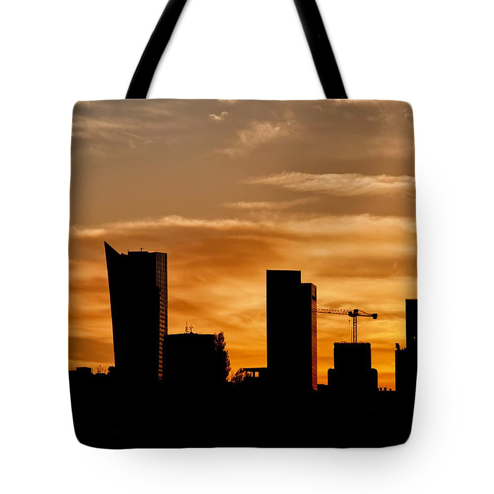 Warsaw Tote Bag featuring the photograph City Of Warsaw Skyline Silhouette by Artur Bogacki