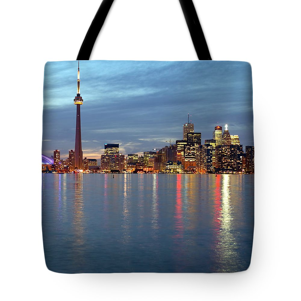 Light Tote Bag featuring the photograph City Skyline At Dusk From Centre by Roderick Chen
