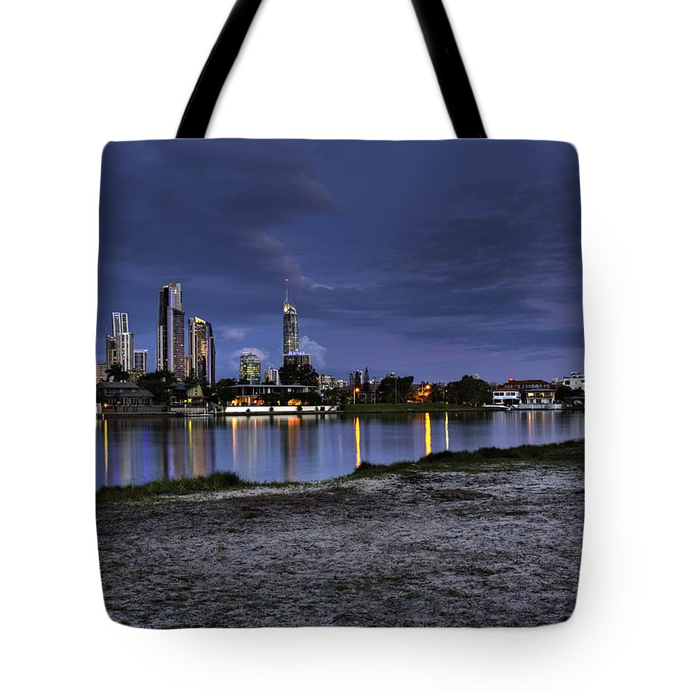 Surfers Paradise Tote Bag featuring the photograph City Skyline At Night by Darren Burton