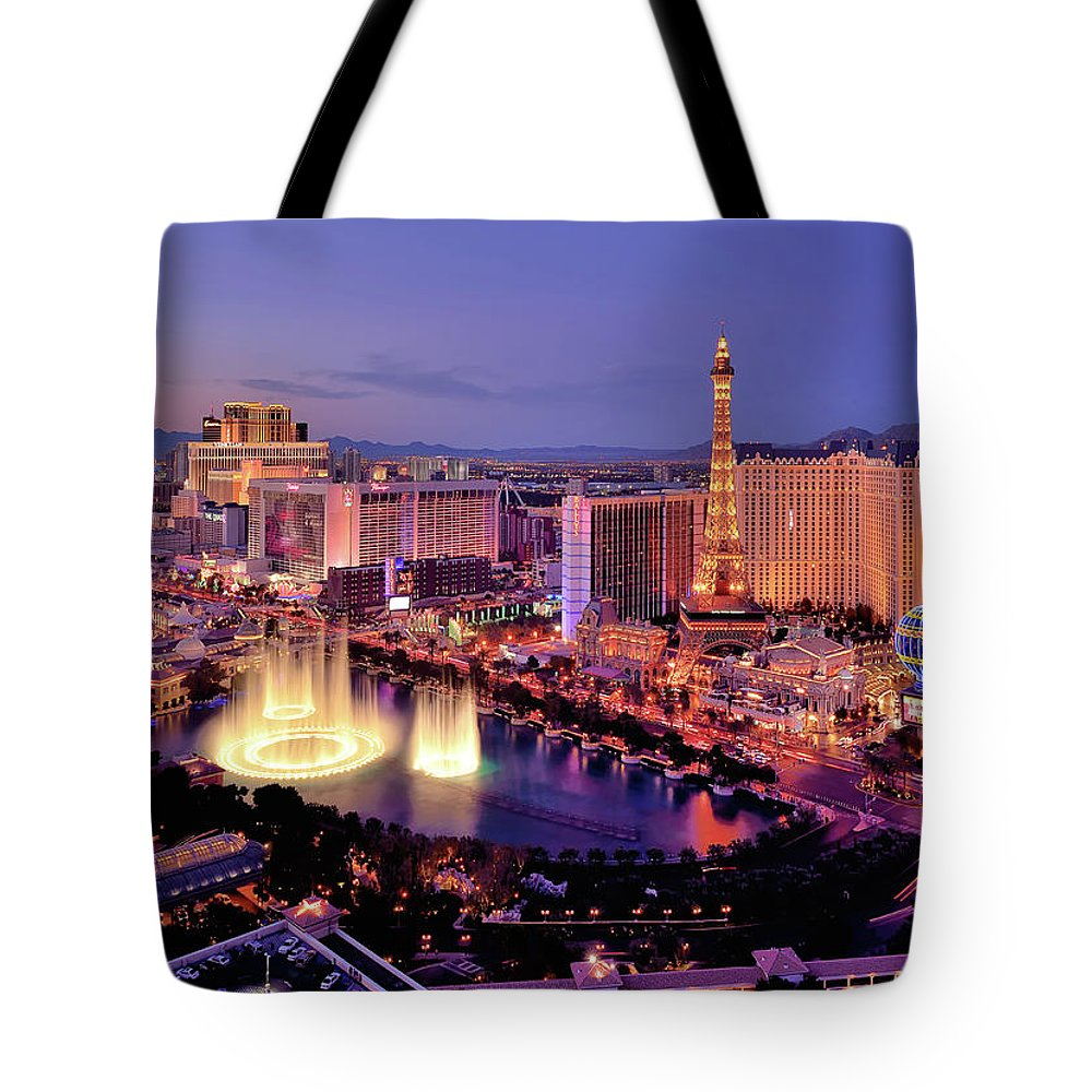 Built Structure Tote Bag featuring the photograph City Skyline At Night With Bellagio by Rebeccaang