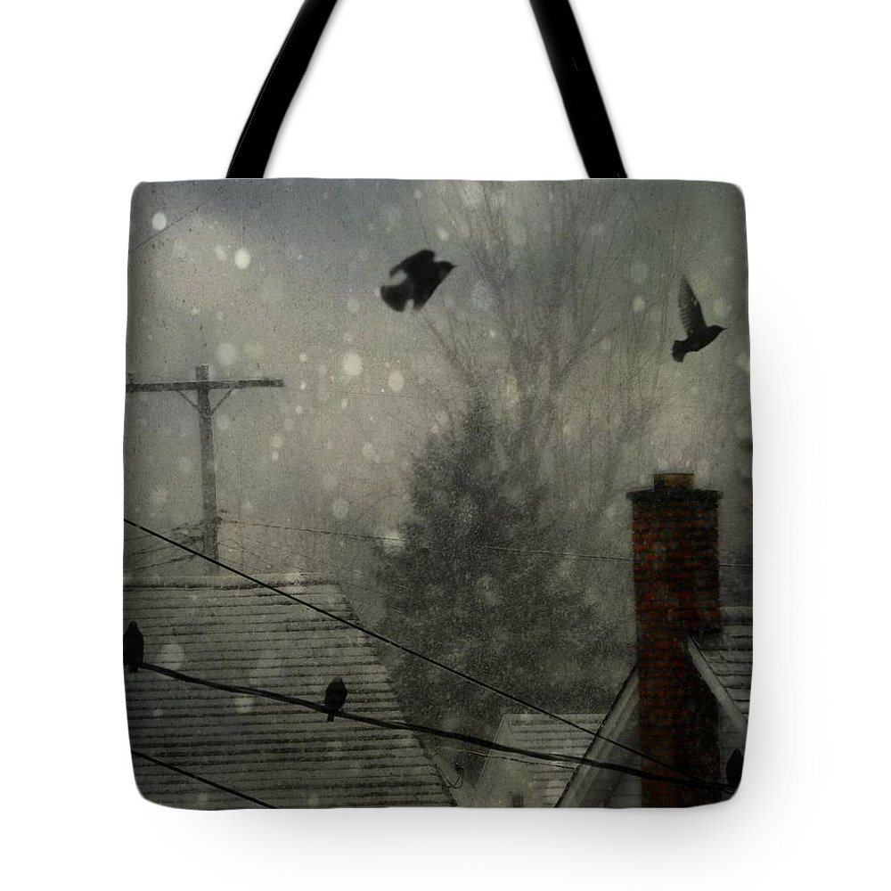 Rooftops Tote Bag featuring the photograph City Snow by Gothicrow Images
