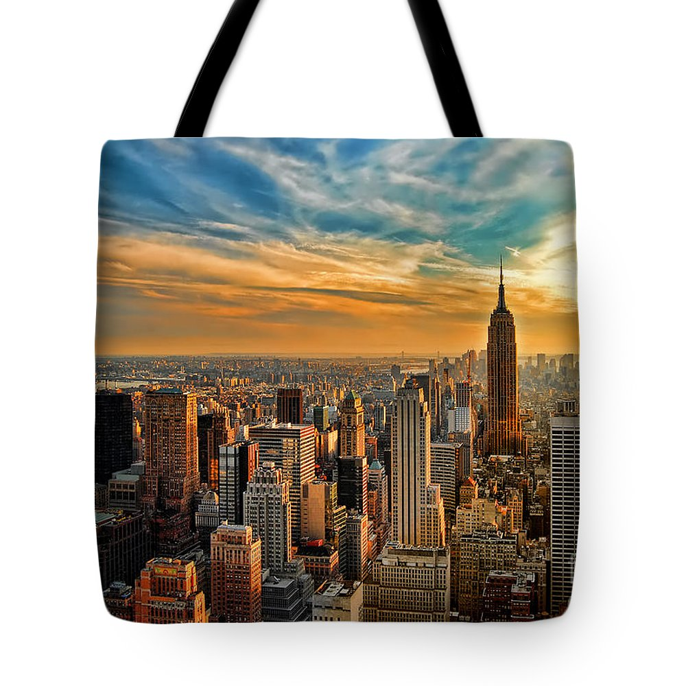 New York City Tote Bag featuring the photograph City Sunset New York City Usa by Sabine Jacobs