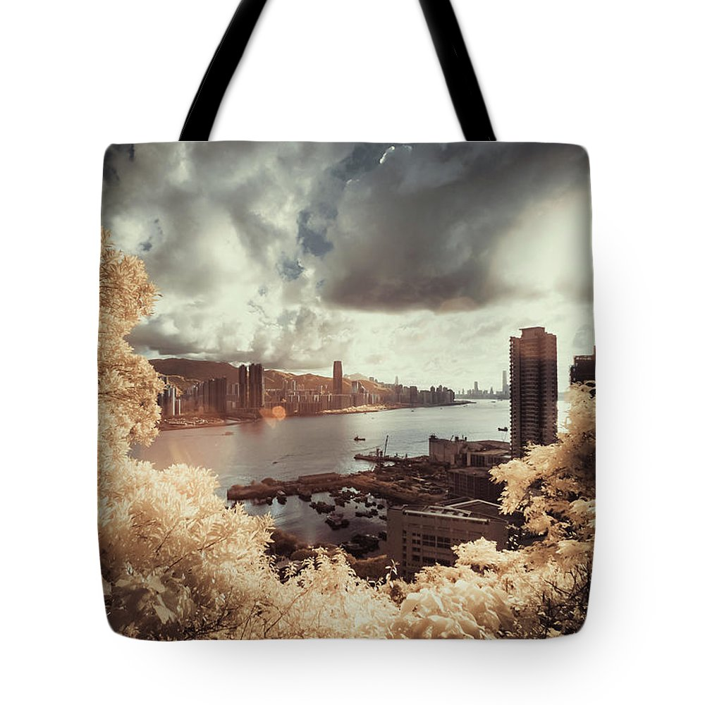Treetop Tote Bag featuring the photograph Cityscape In Dream by D3sign