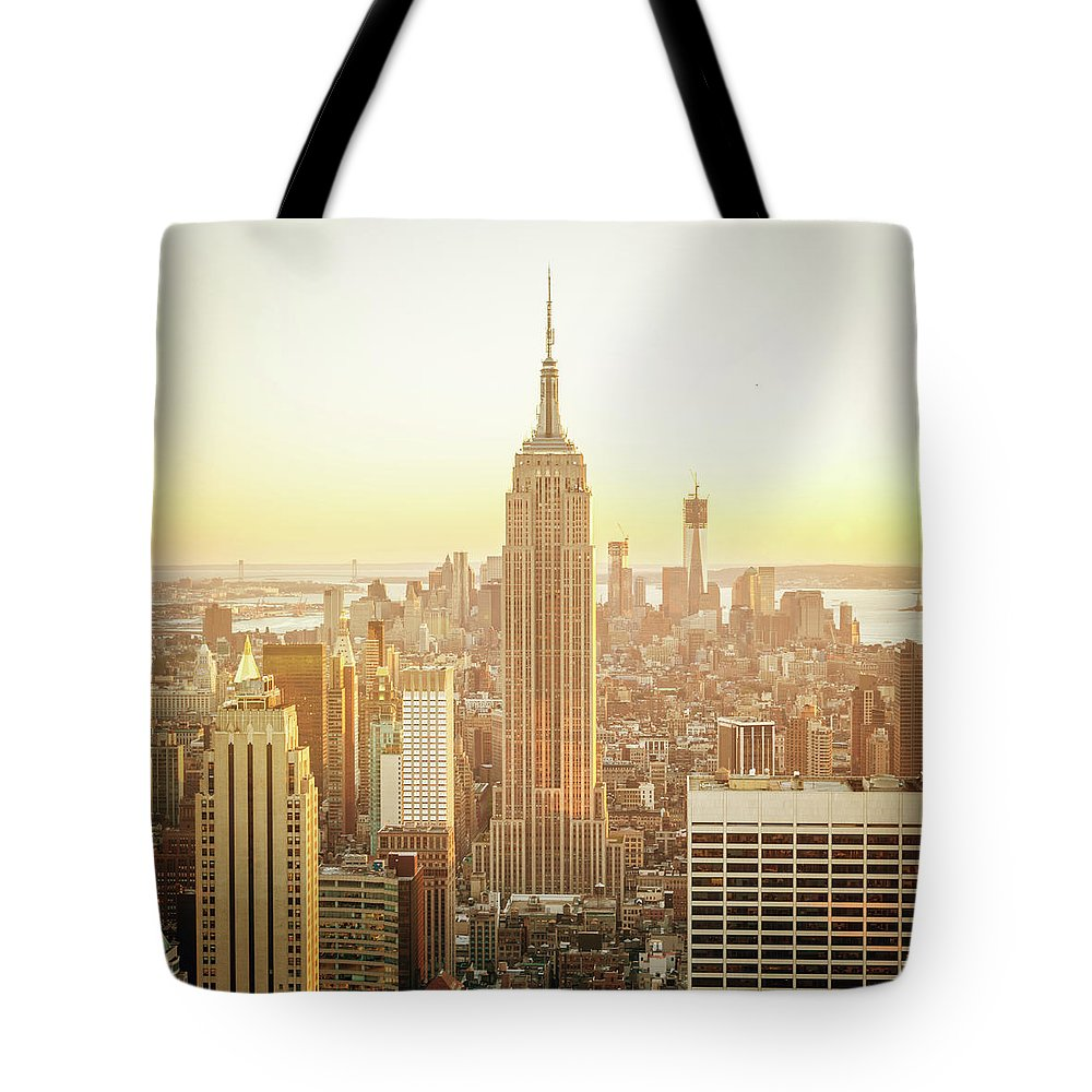 Scenics Tote Bag featuring the photograph Cityscape Manhattan Sunset New York by Mlenny