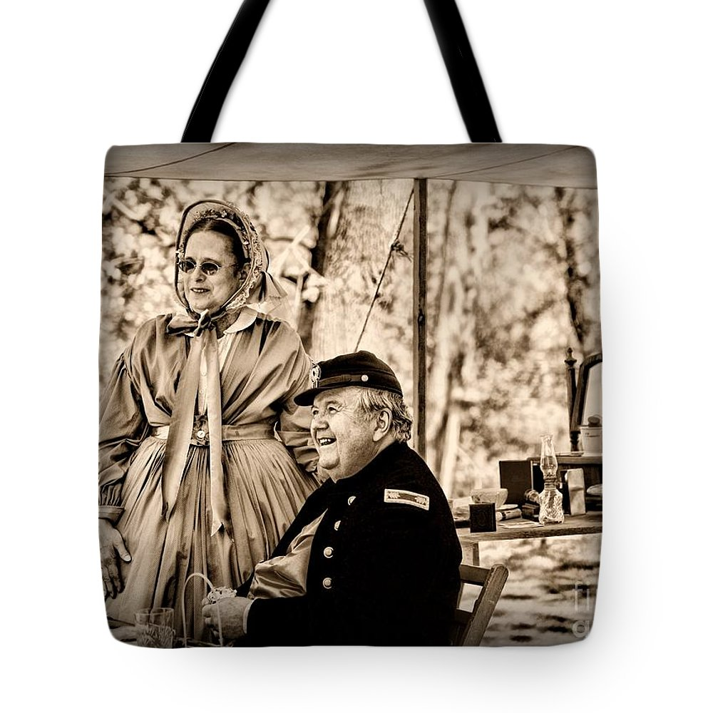 Paul Ward Tote Bag featuring the photograph Civil War Officer And Wife by Paul Ward