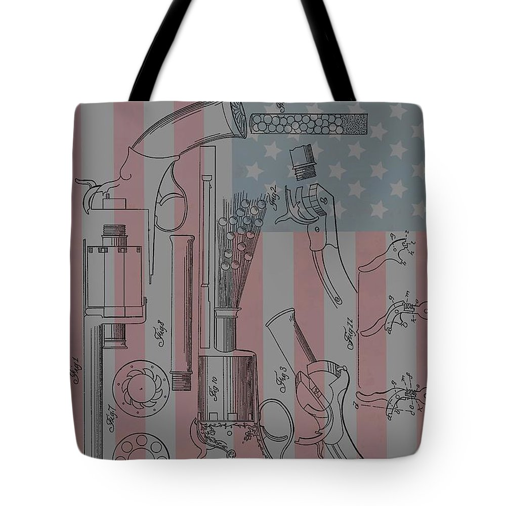 Lemat Revolver Patent Tote Bag featuring the mixed media Civil War Revolver American Flag by Dan Sproul