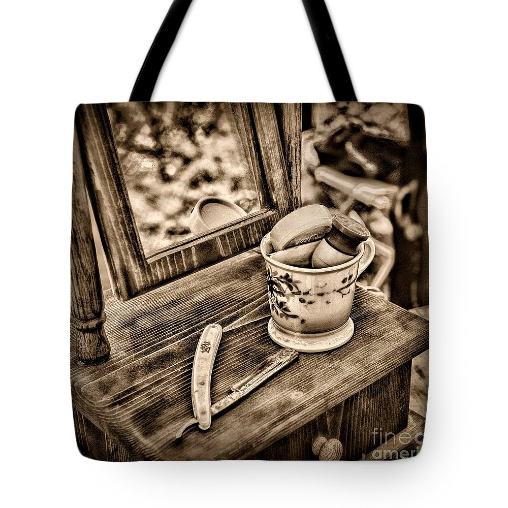 Paul Ward Tote Bag featuring the photograph Civil War Shaving Mug And Razor Black And White by Paul Ward