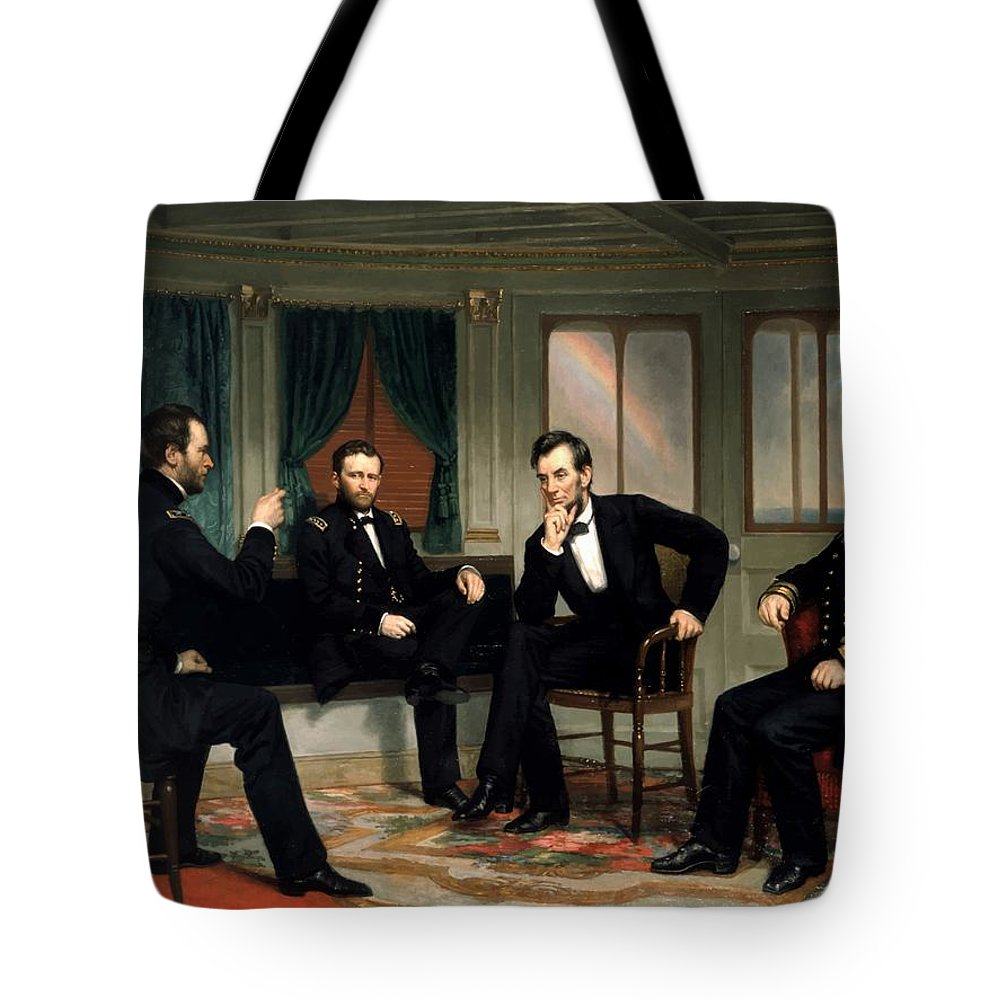 Civil War Tote Bag featuring the painting Civil War Union Leaders -- The Peacemakers by War Is Hell Store