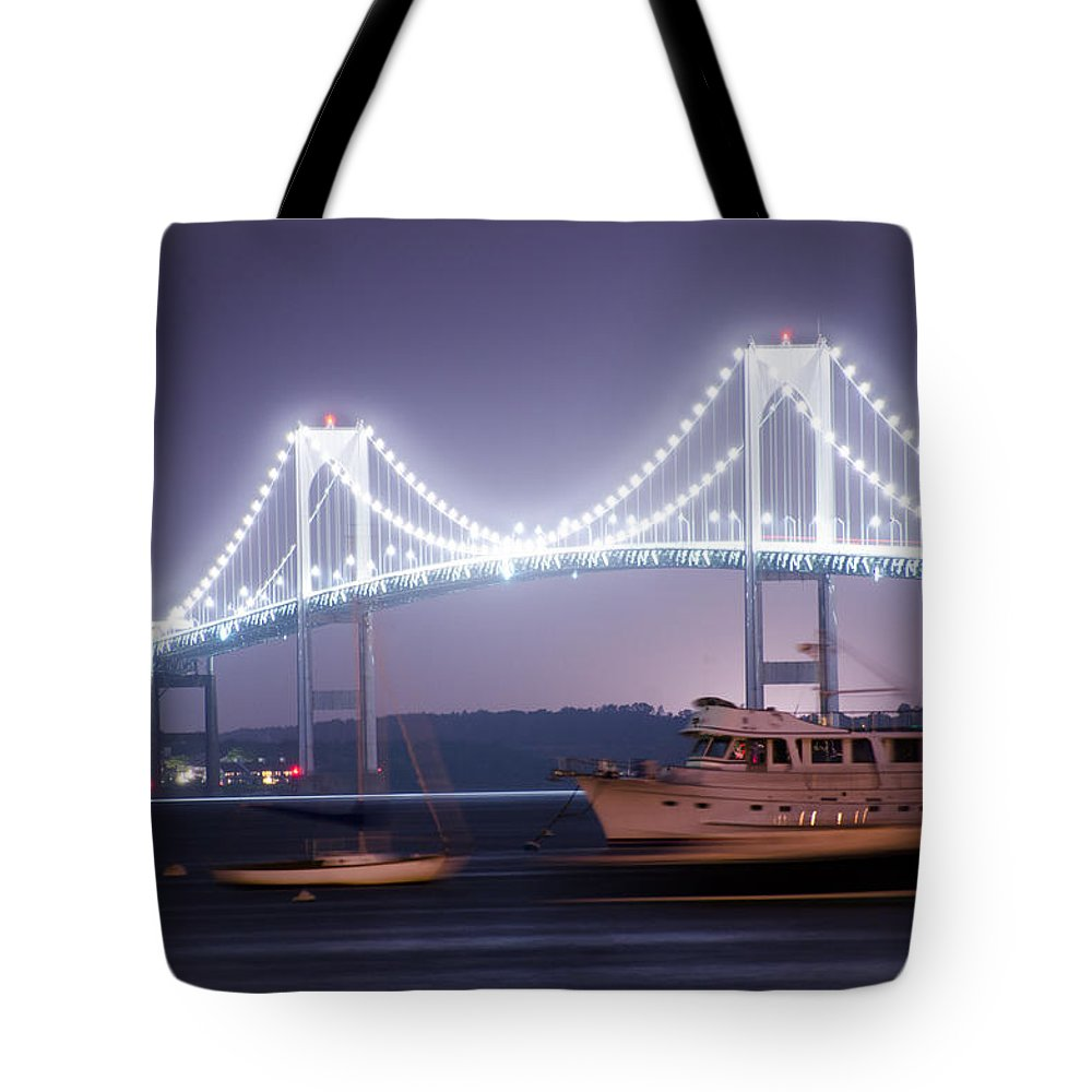 Newport Tote Bag featuring the photograph Claiborne Pell Bridge At Night by Bill Cannon
