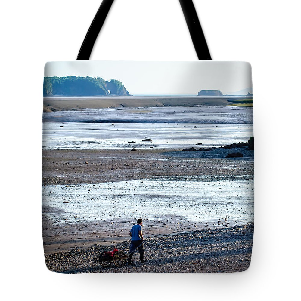 Canada Tote Bag featuring the photograph Clam Digger With Wagon by Boss Photographic