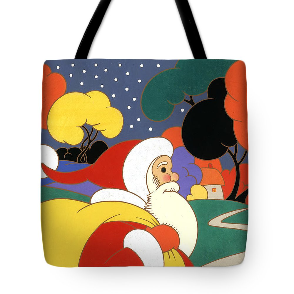 Carol Lawson Tote Bag featuring the painting Clarice Cliff Santa by Carol Lawson