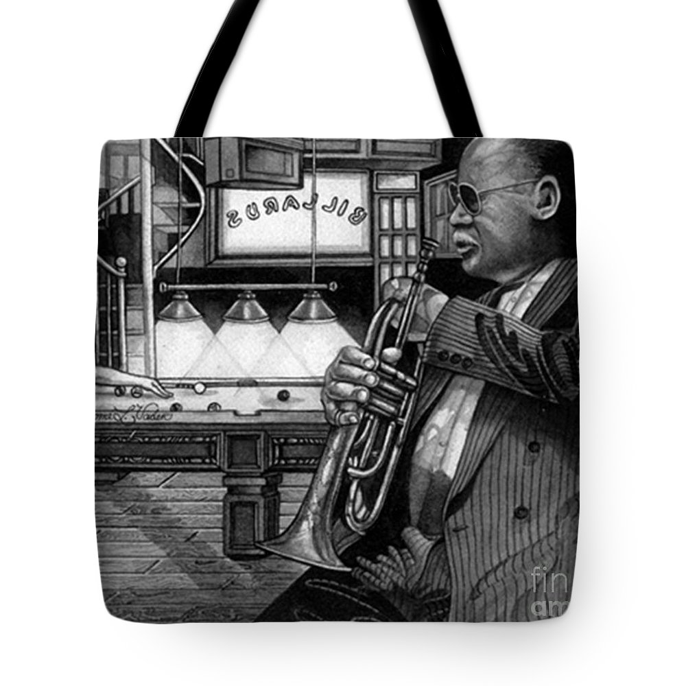 Jazz Tote Bag featuring the painting Jazz Clark Terry by JL Vaden