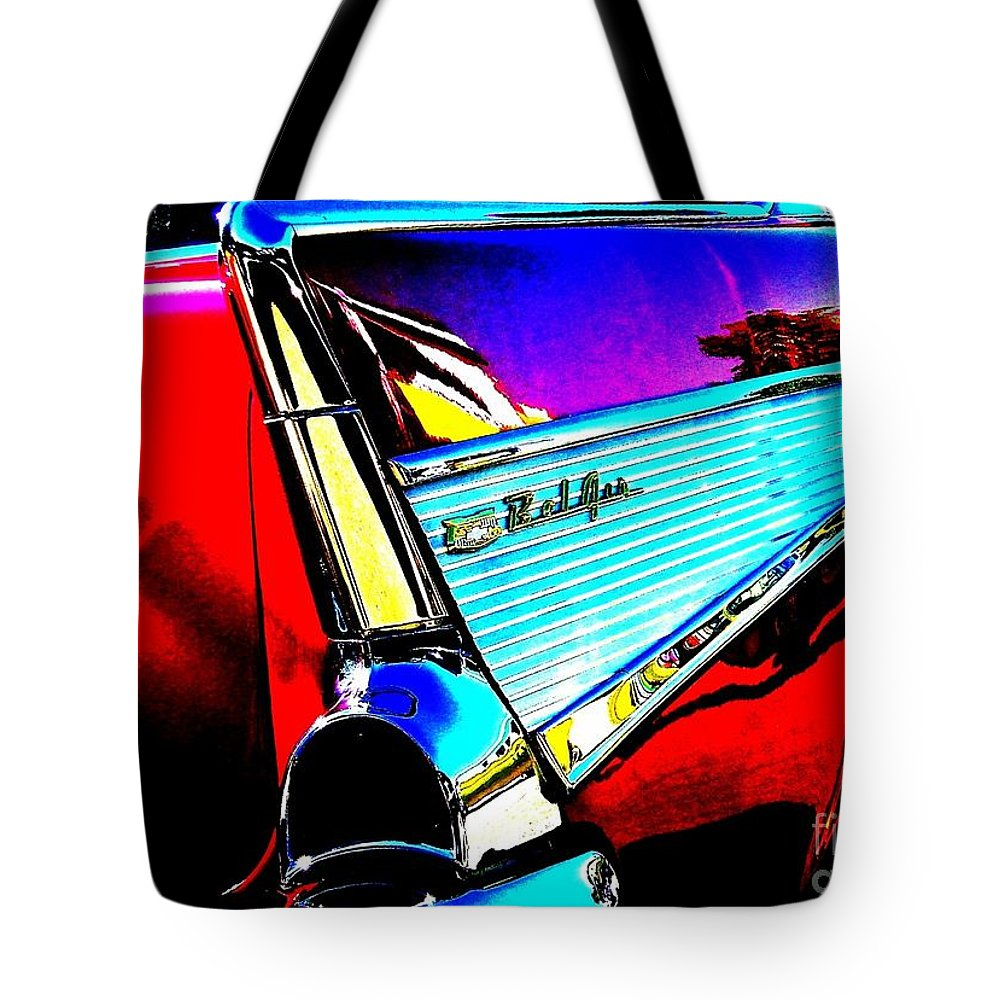 Chevy Tote Bag featuring the photograph Classic 57 Chevy Art by Bobbee Rickard