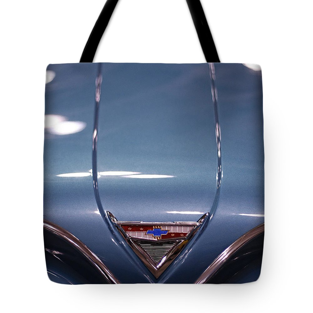 Impala Tote Bag featuring the photograph Classic Chevy Impala Trunk by Kristia Adams