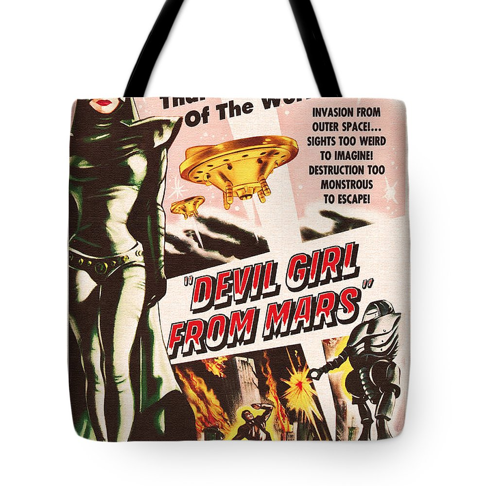 Classic Tote Bag featuring the painting Classic Devil Girl From Mars Poster by R Muirhead Art