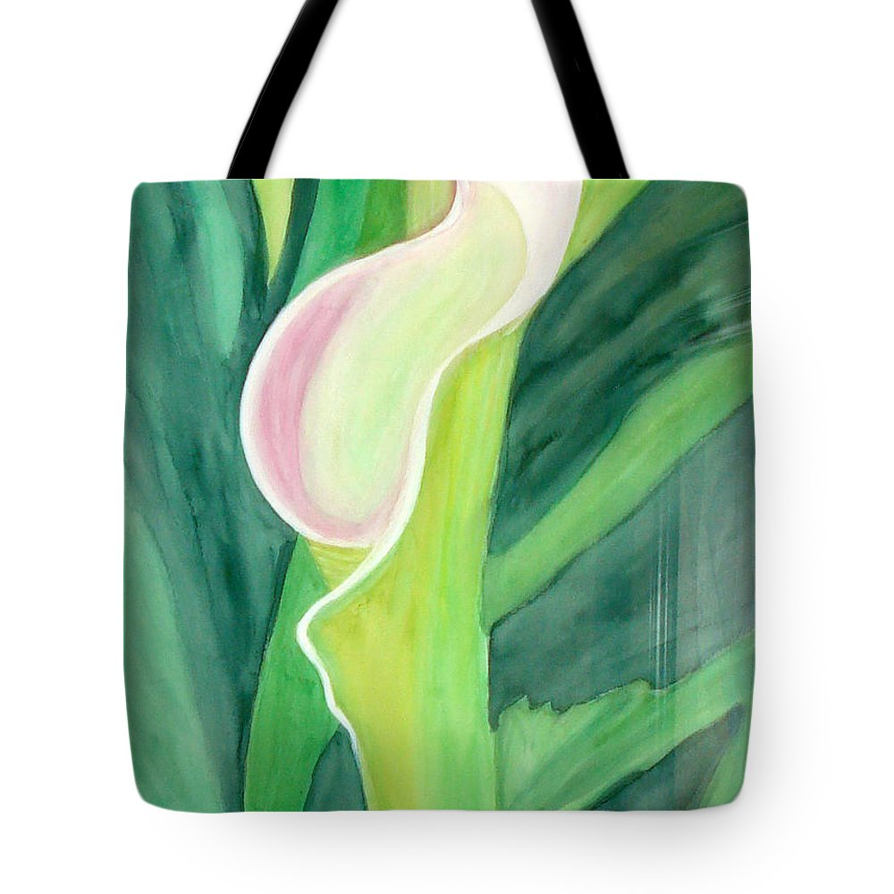 White Flower Tote Bag featuring the painting Classic Flower by Yael VanGruber
