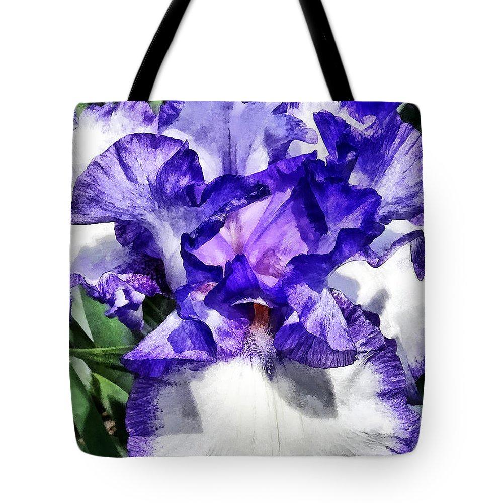 Iris Tote Bag featuring the photograph Classic Look Iris Closeup by Susan Savad