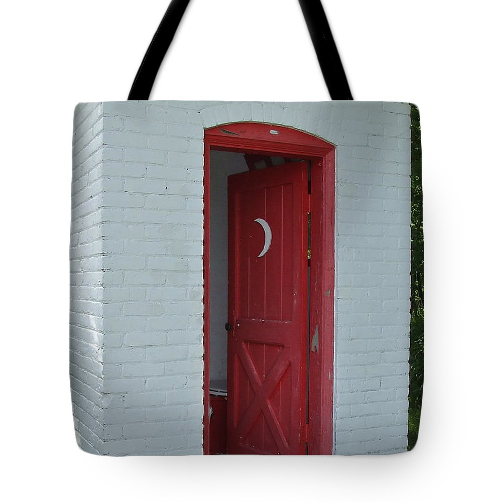 Red Tote Bag featuring the photograph Classy Outhouse by Susan Wyman