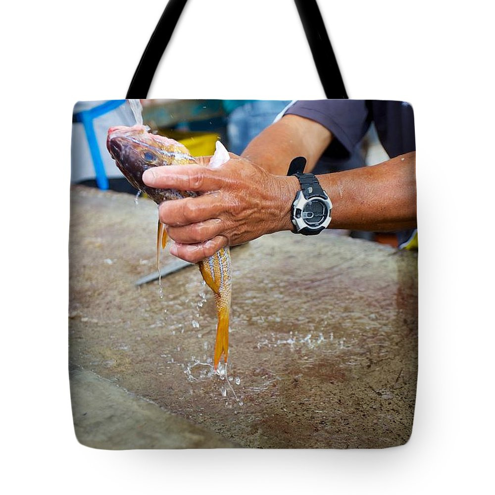 Galapagos Tote Bag featuring the photograph Cleaning Snappers by Allan Morrison