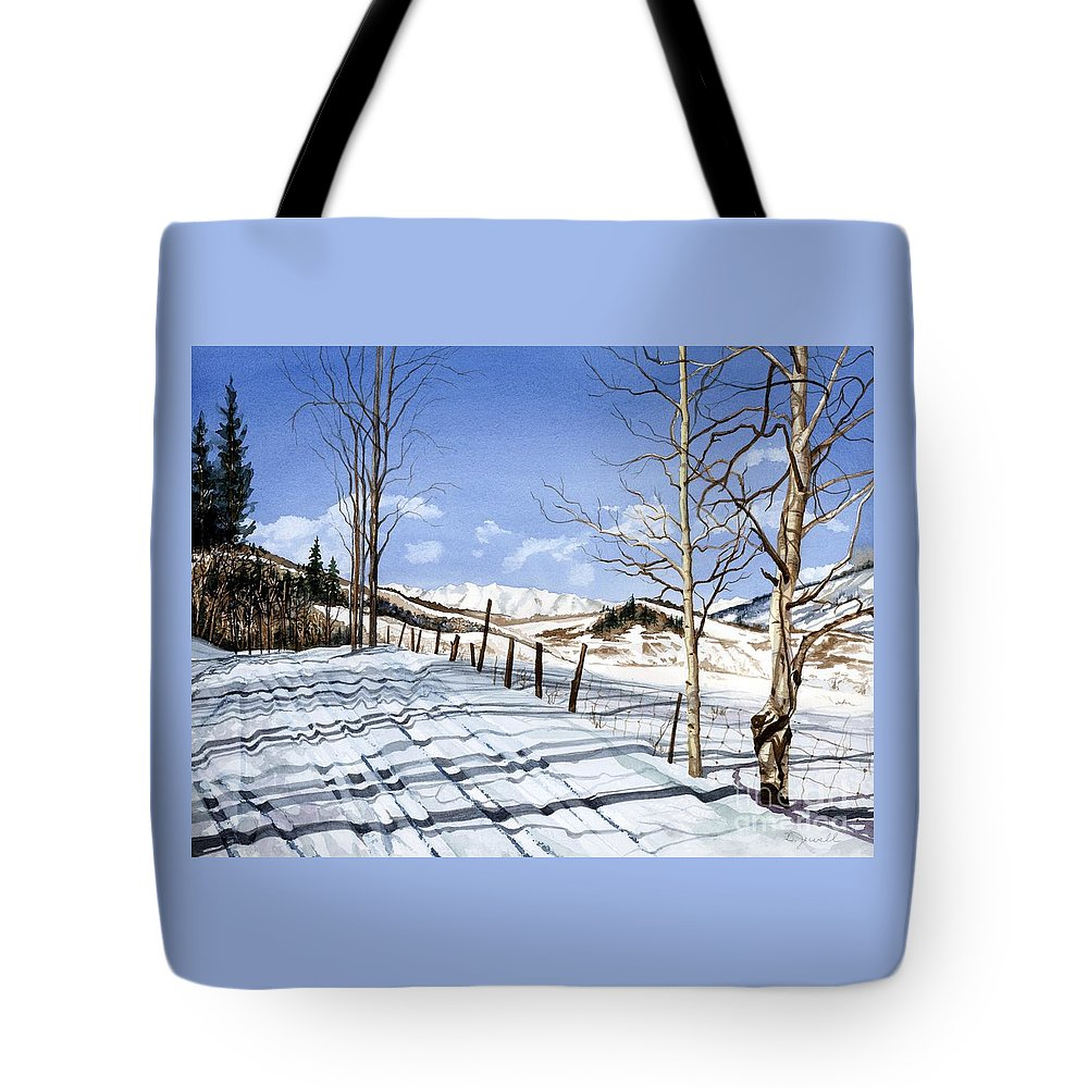 Ski Colorado Tote Bag featuring the painting Clear Blue Silence by Barbara Jewell