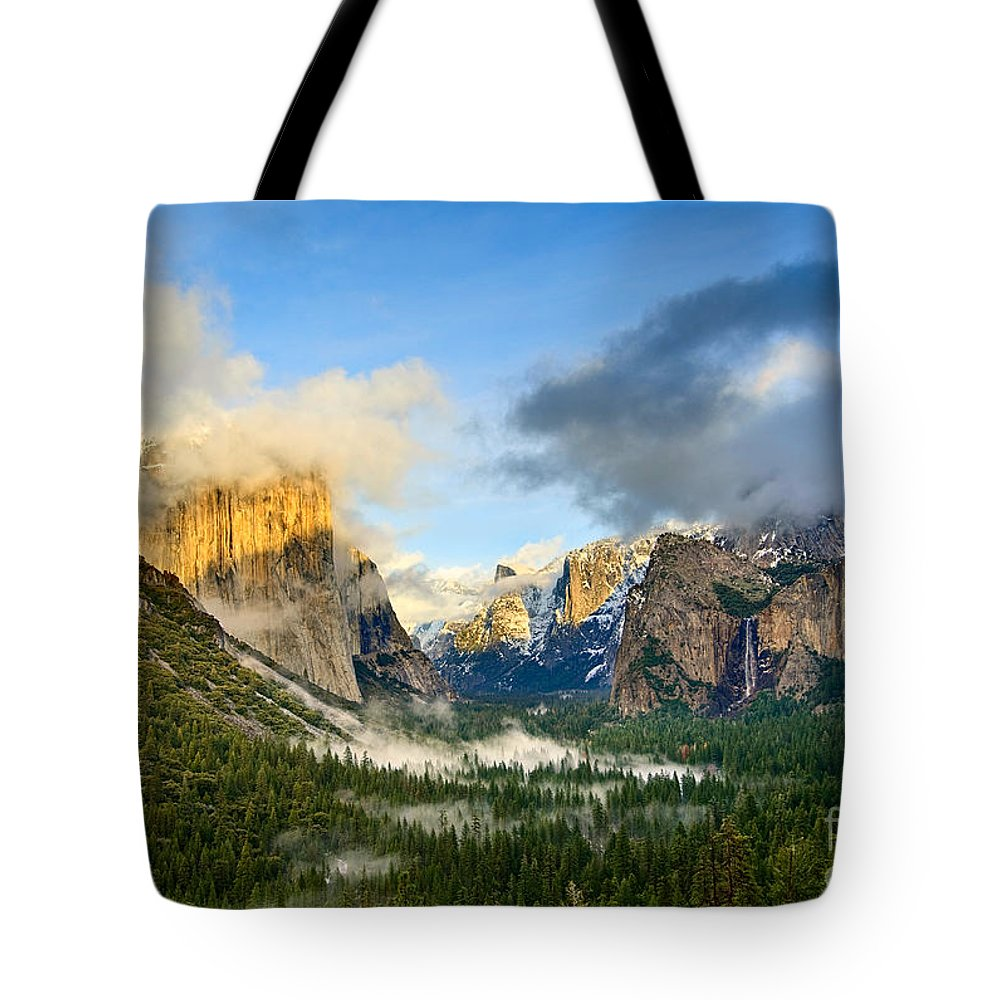 Yosemite Tote Bag featuring the photograph Clearing Storm - Yosemite National Park From Tunnel View. by Jamie Pham