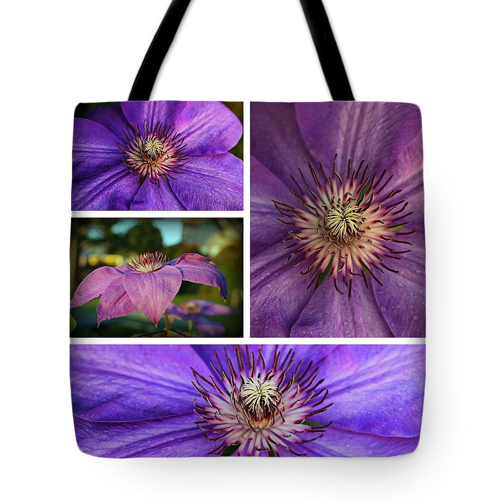 Clematis Tote Bag featuring the photograph Clematis Collage by Lynn Hopwood