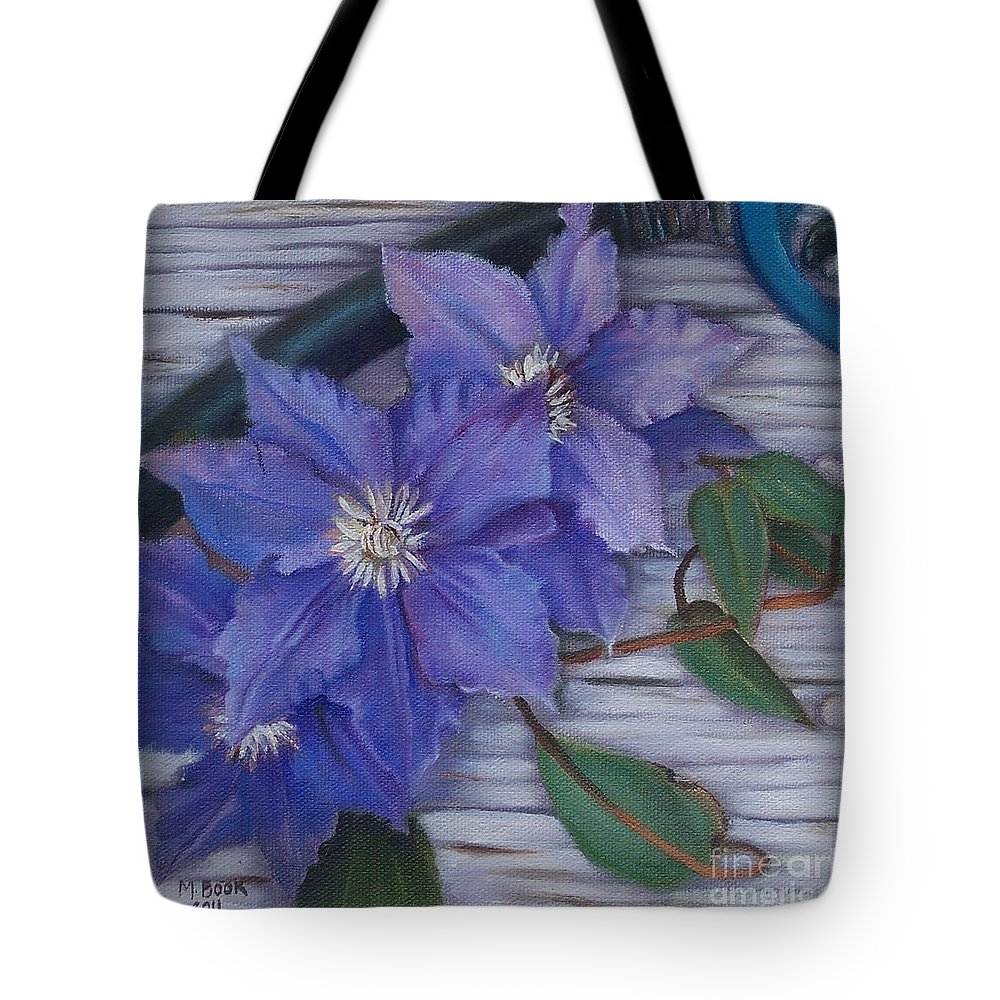 Still Life Tote Bag featuring the painting Clematis by Marlene Book