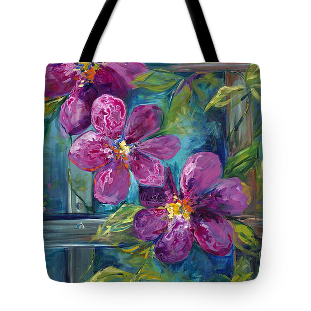 Magenta Tote Bag featuring the painting Clematis Turquoise Garden by Karen Ahuja