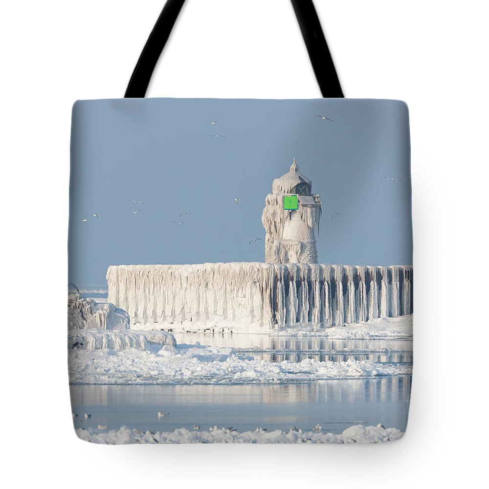 Clarence Holmes Tote Bag featuring the photograph Cleveland Harbor East Pierhead Light by Clarence Holmes