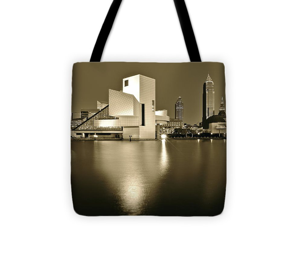 Cleveland Tote Bag featuring the photograph Cleveland In Sepia by Frozen in Time Fine Art Photography