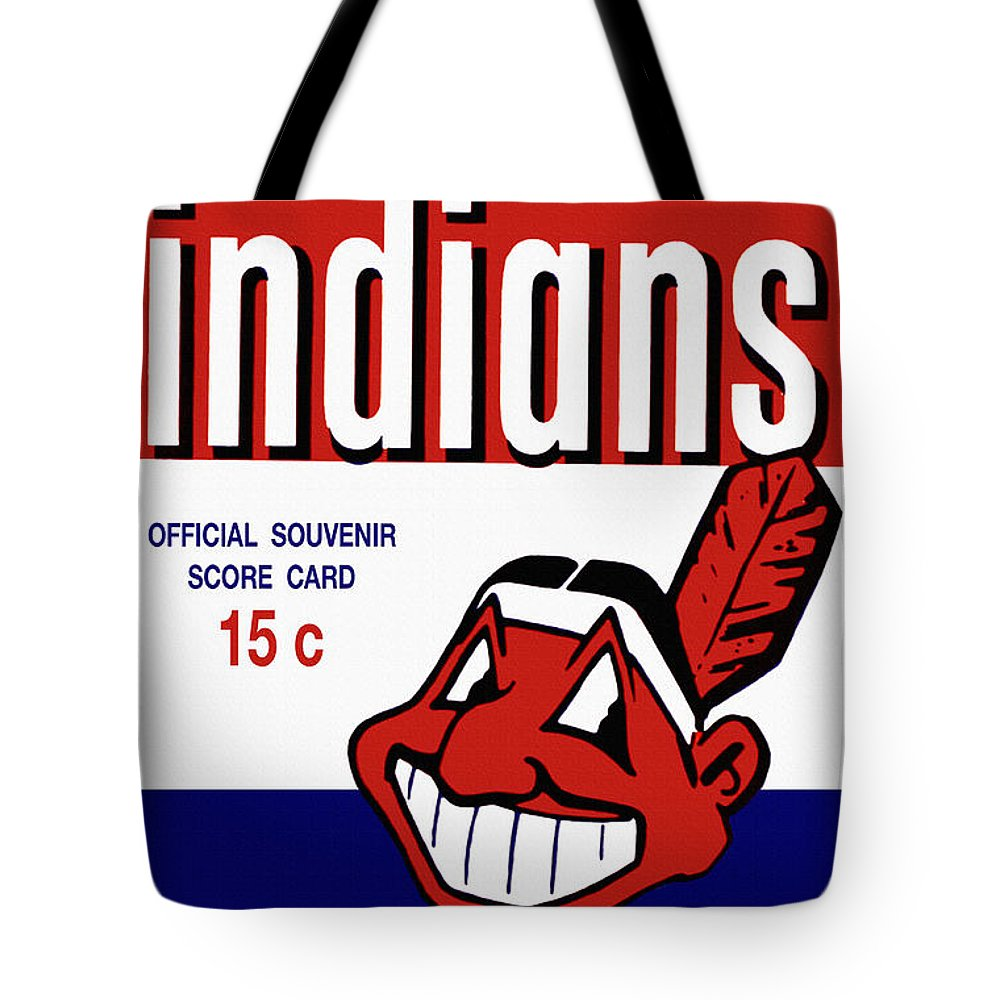 Cleveland Indians Tote Bag featuring the painting Cleveland Indians 1957 Scorecard by John Farr