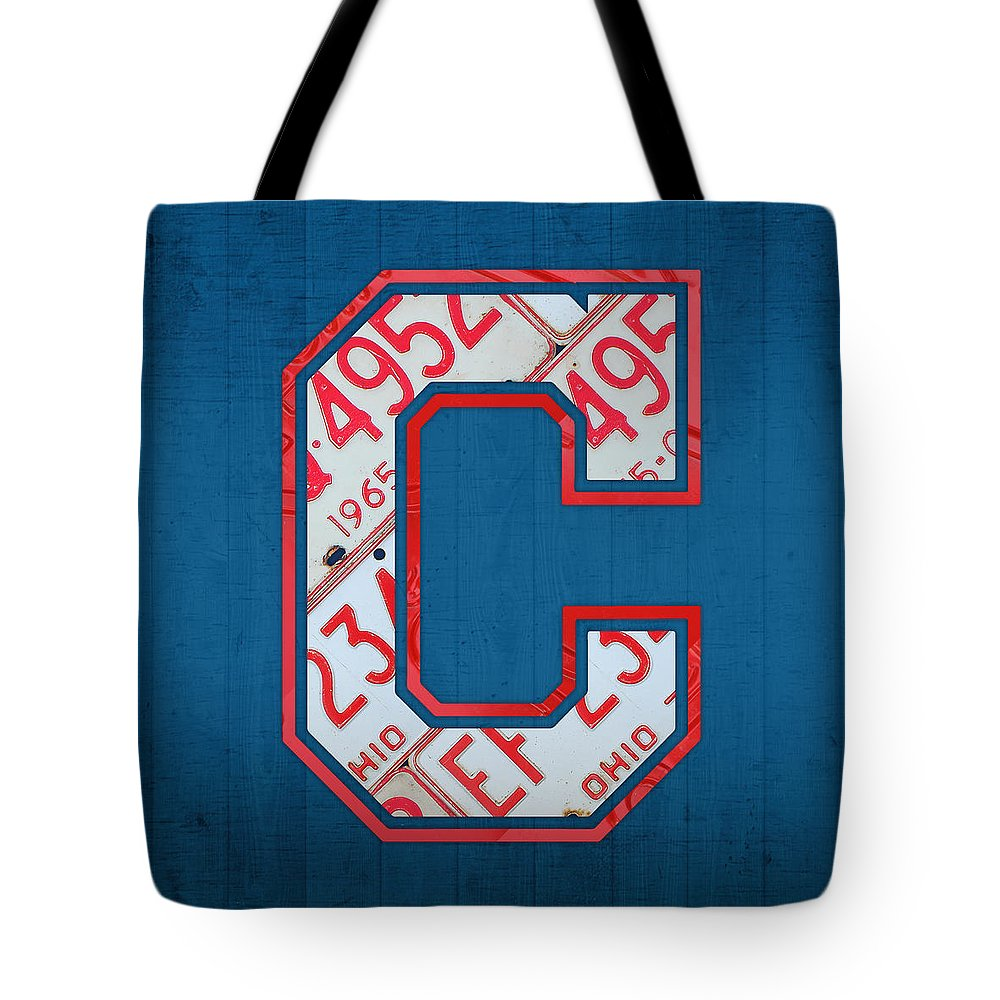Cleveland Indians Tote Bag featuring the mixed media Cleveland Indians Baseball Team Vintage Logo Recycled Ohio License Plate Art by Design Turnpike