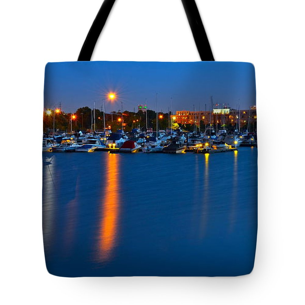 Cleveland Tote Bag featuring the photograph Cleveland Ohio Skyline by Frozen in Time Fine Art Photography