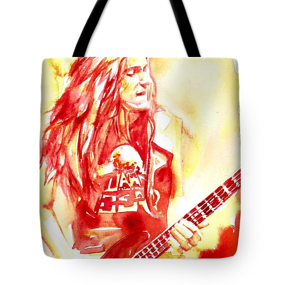 Cliff Tote Bag featuring the painting Cliff Burton Playing Bass Guitar Portrait.1 by Fabrizio Cassetta