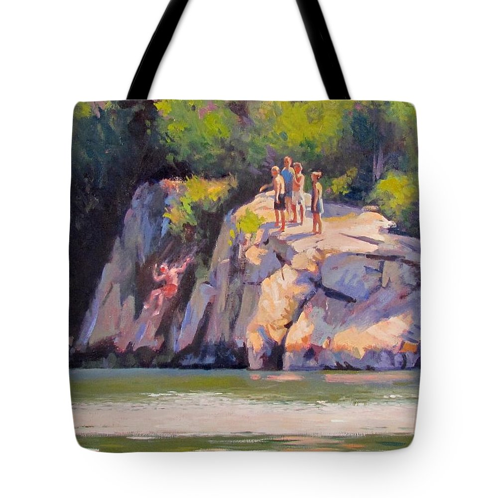 Cliff Tote Bag featuring the painting Cliff Jumping by Dianne Panarelli Miller
