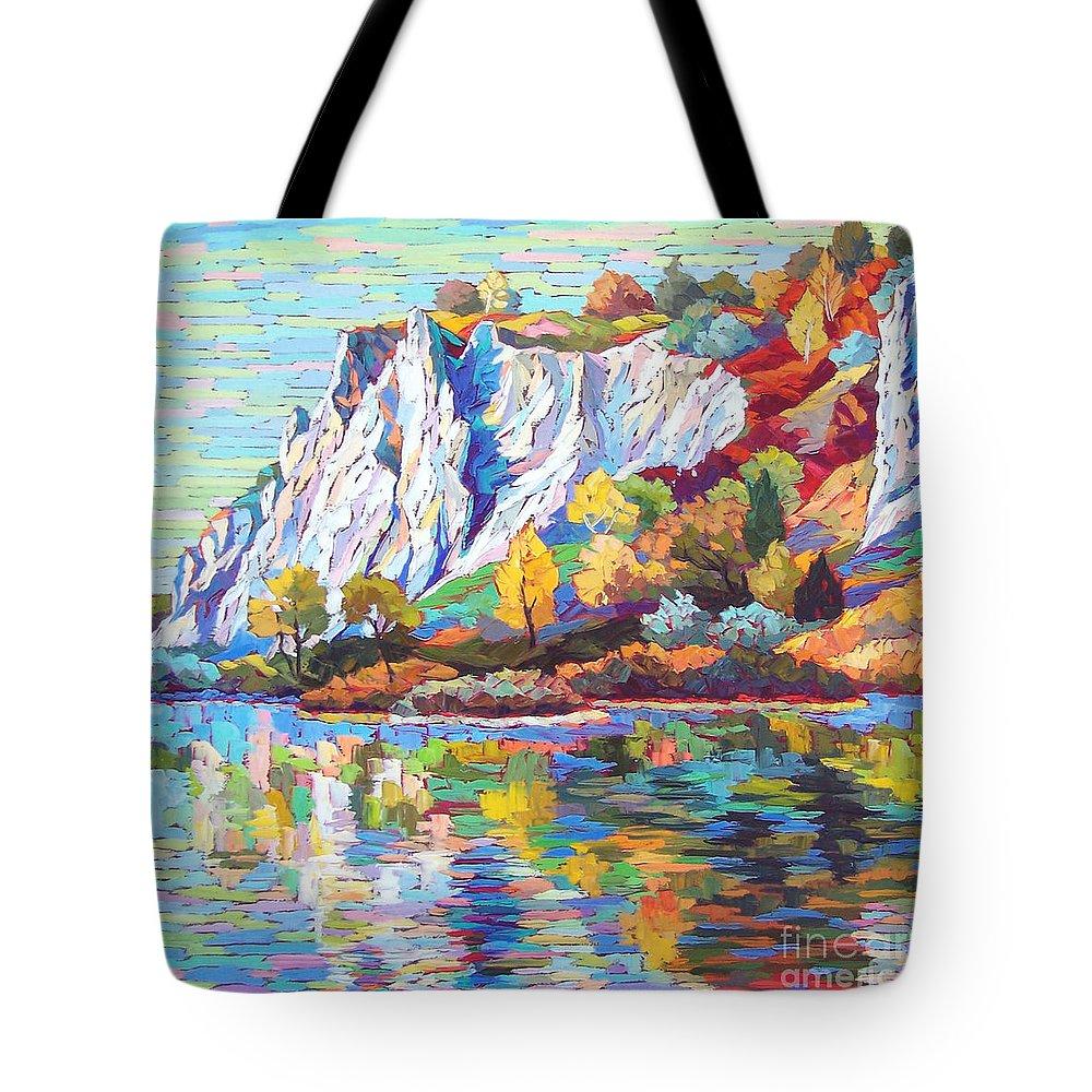 Landscape Tote Bag featuring the painting Cliff Landscape by Elizabeth Elkin