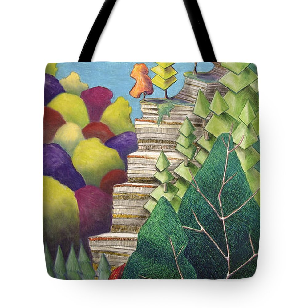 Cliff Tote Bag featuring the mixed media Cliff Overlooking Lake With Colorful Trees by Michele Fritz