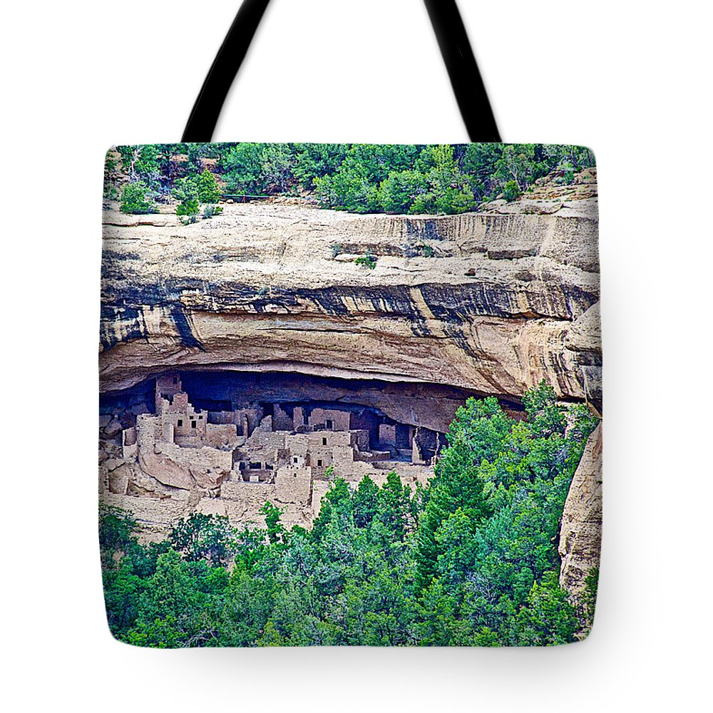 Cliff Palace From Chapin Mesa Top Loop Road In Mesa Verde National Park Tote Bag featuring the photograph Cliff Palace From Chapin Mesa Top Loop Road In Mesa Verde National Park-colorado by Ruth Hager