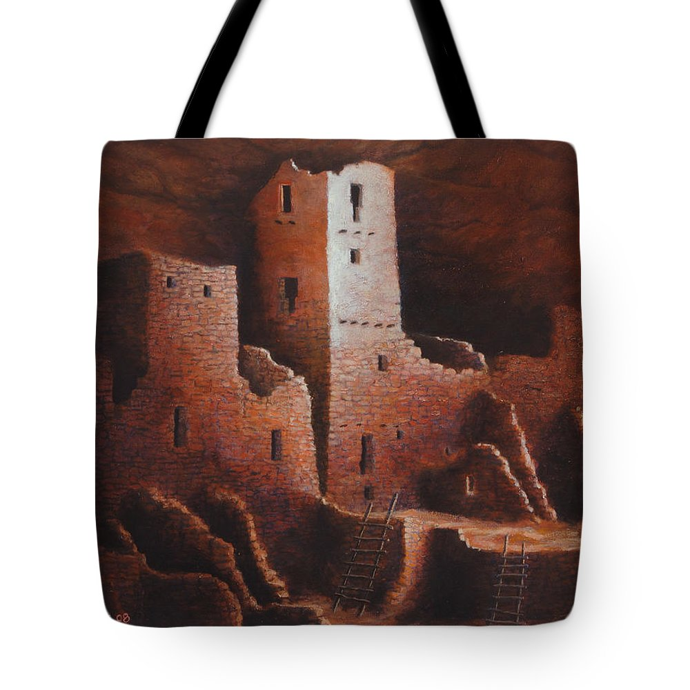 Anasazi Tote Bag featuring the painting Cliff Palace by Jerry McElroy