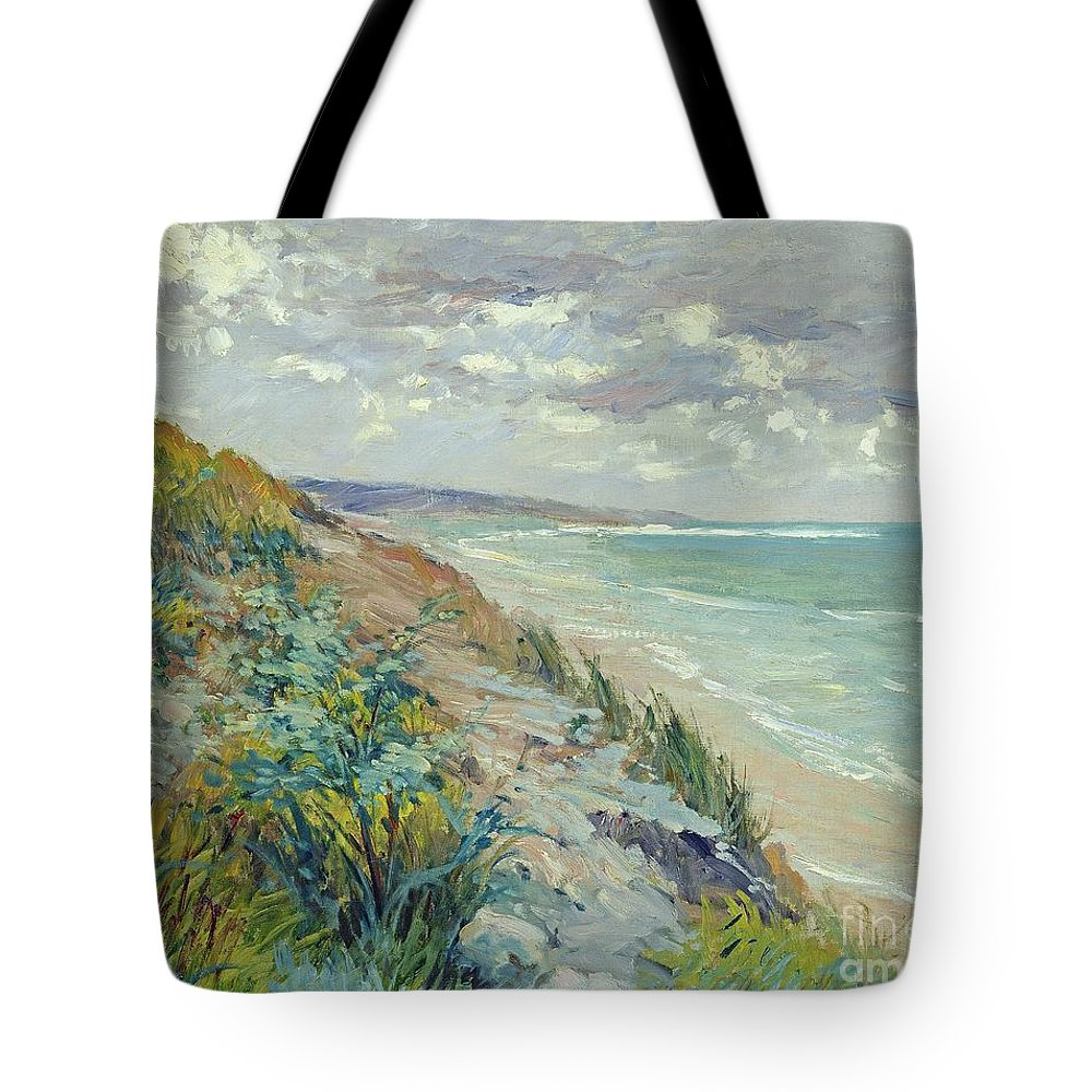 Beach Tote Bag featuring the painting Cliffs by the sea at Trouville by Gustave Caillebotte