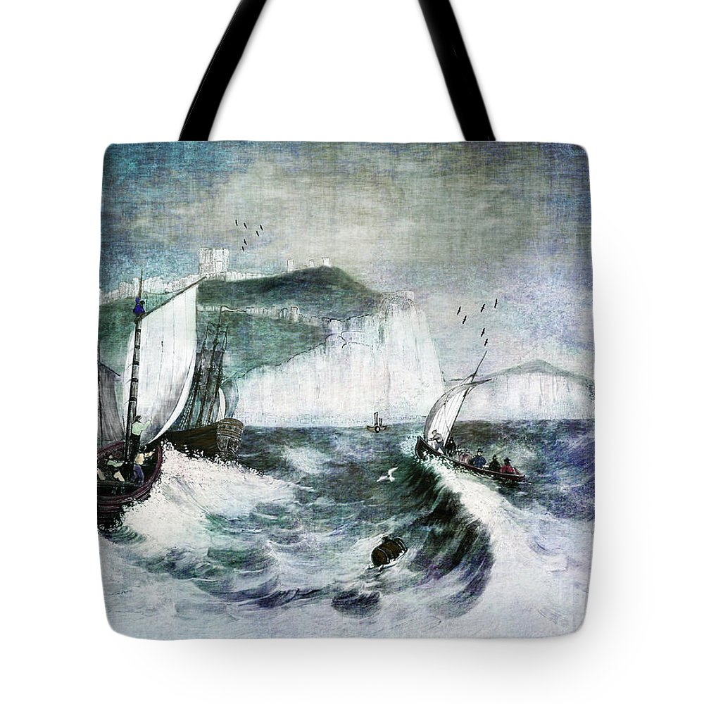 Ocean Tote Bag featuring the digital art Cliffs Of Dover by Lianne Schneider