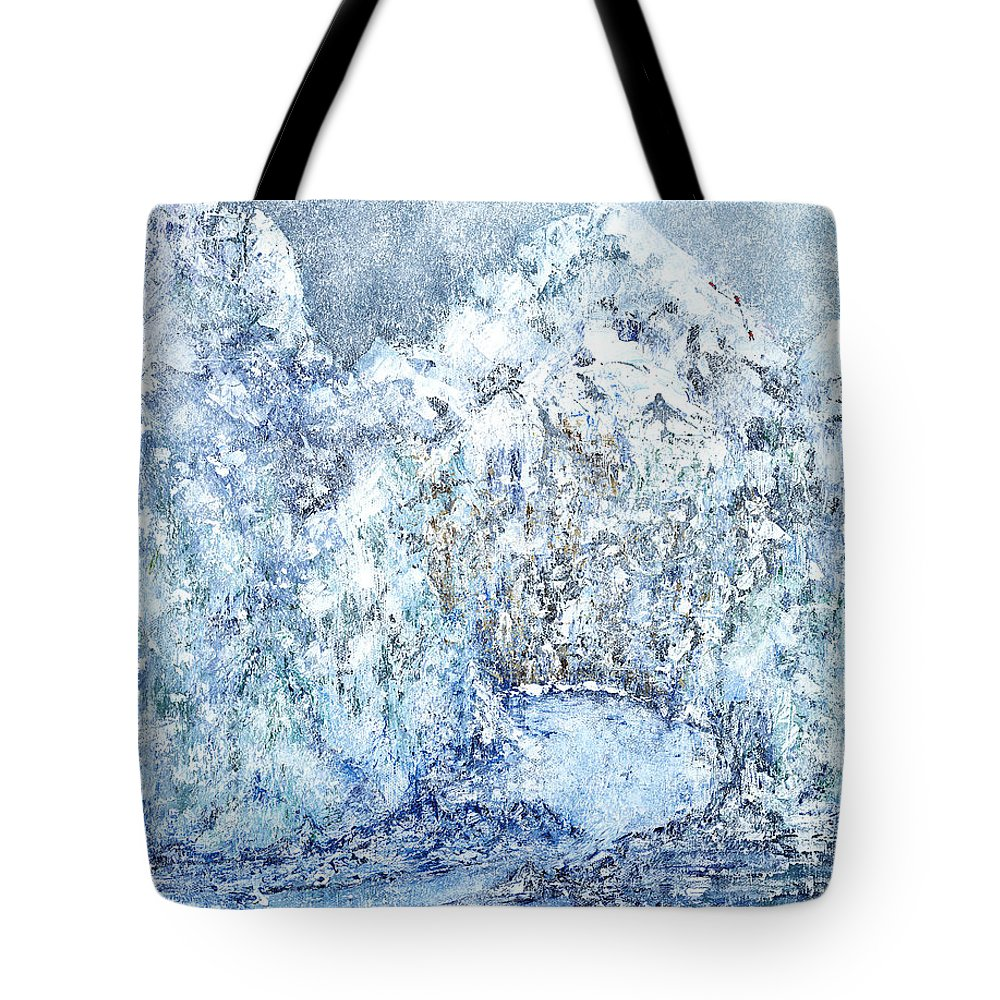Contemporary Expressionistic Realism Tote Bag featuring the painting Climbers Peak by Linda Wimberly