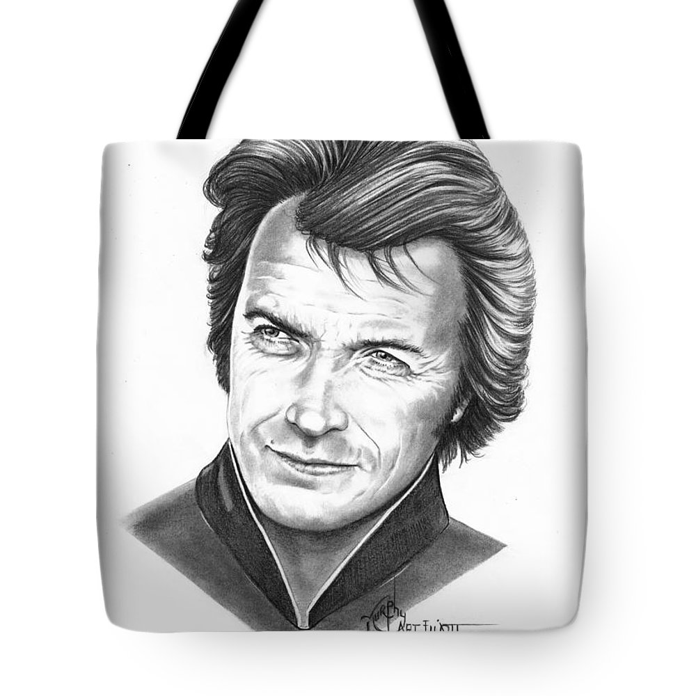 Portrait Tote Bag featuring the drawing Clint Eastwood by Murphy Elliott