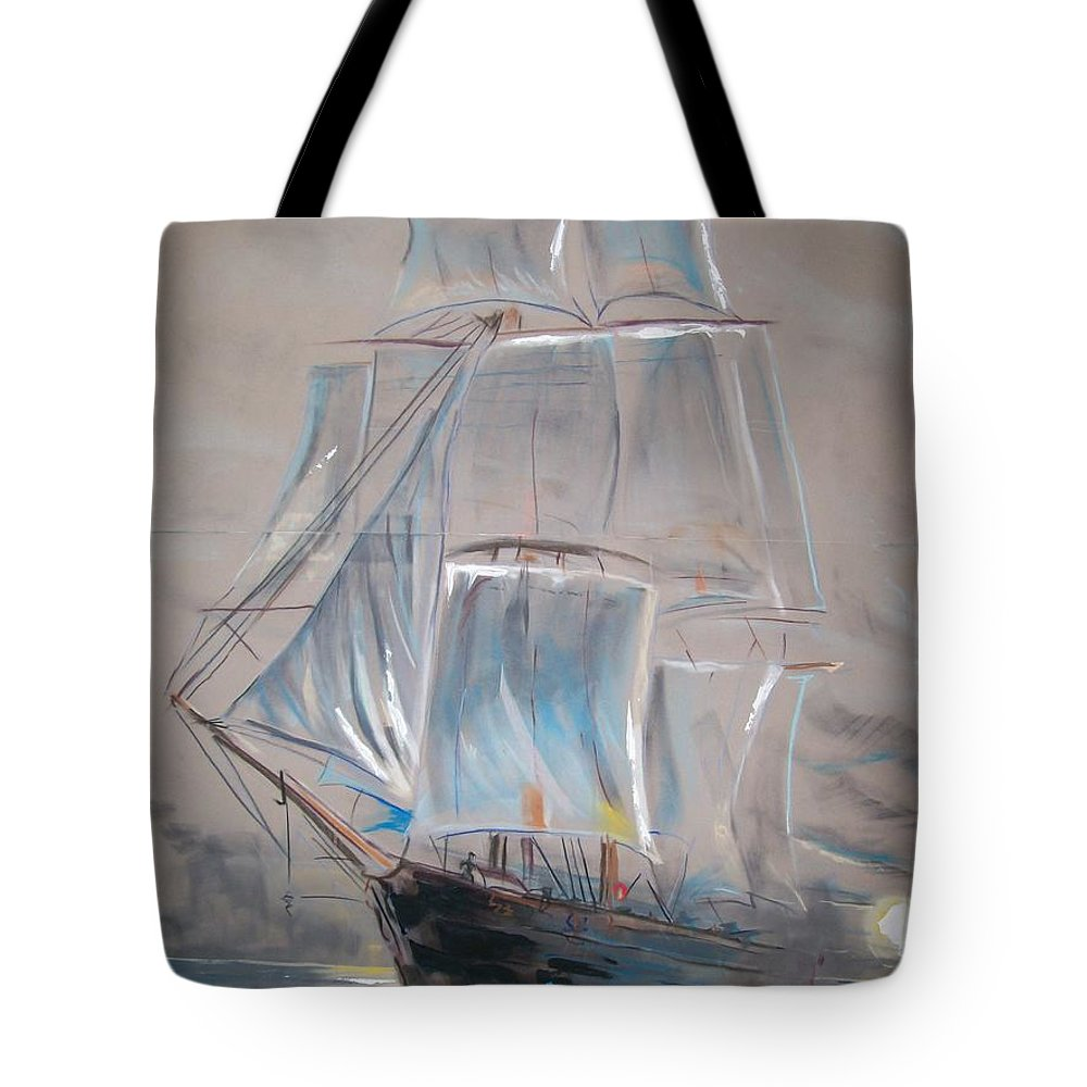 Seascape Tote Bag featuring the mixed media Clipper In Mist by Peter Suhocke