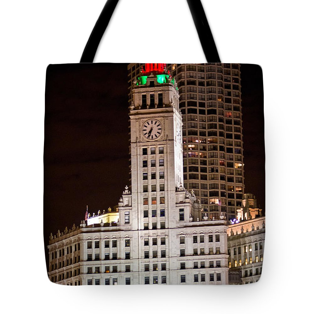 Chicago Tote Bag featuring the photograph Clock Tower In Chicago by John McGraw