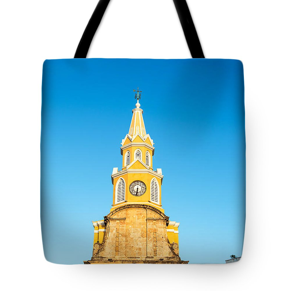 Cartagena Tote Bag featuring the photograph Clock Tower Of Cartagena by Jess Kraft