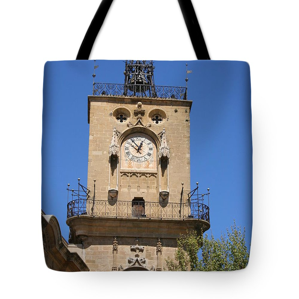 Clock Tote Bag featuring the photograph Clocktower - Aix En Provence by Christiane Schulze Art And Photography